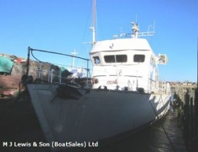 Wooden motor vessel 33m ex minesweeper, conversion project .