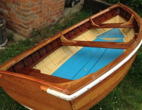 10ft clinker varnished wooden rowing dinghy, tender