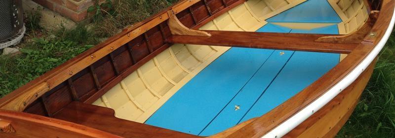 10ft clinker varnished wooden rowing dinghy, tender