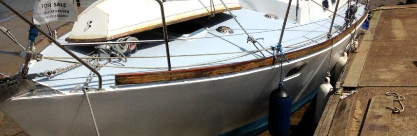 Steel Bermudan Sloop 33ft Tucker Marine, shallow fin.