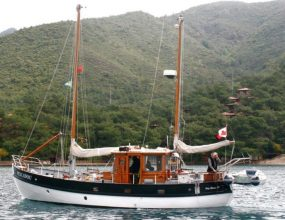 12m Dutch built steel Motor sailer, Gaff rigged Ketch.