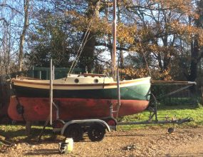 "Oystercatcher 16, GRP Gaff Cutter inboard engine, ""Piggy back"" road trailer and launching trolley"