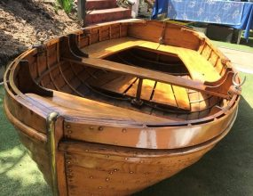 9ft Varnished Clinker rowing dinghy/tender.